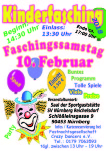 Kinderfasching in Nürnberg am Faschingssamstag 10.02.2018