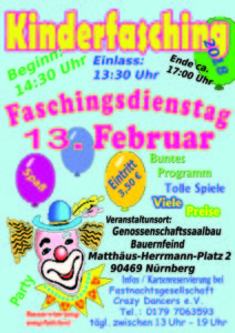 Kinderfasching in Nürnberg am Faschingsdienstag 13.02.2018