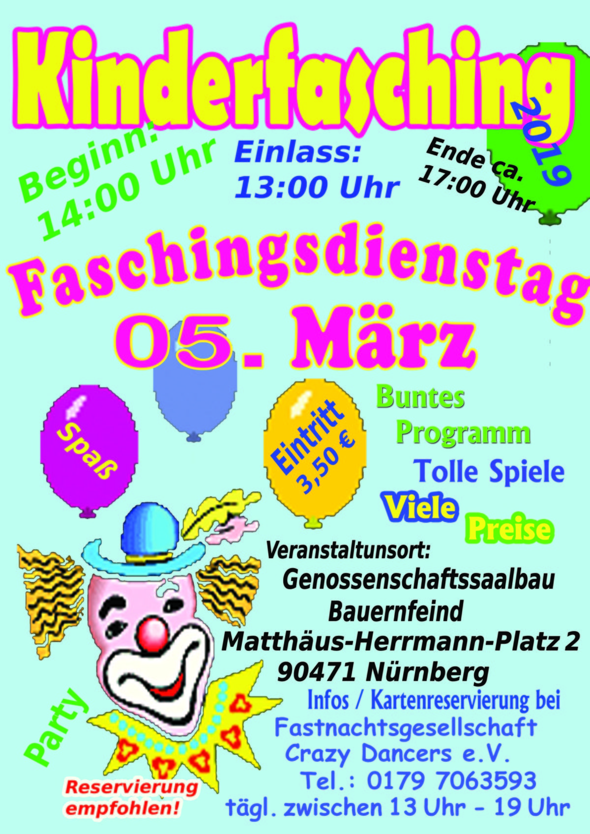 Kinderfasching in Nürnberg am Faschingsdienstag 05.03.2019